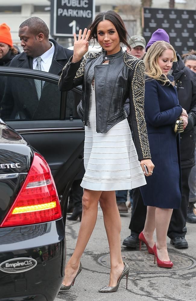 Meghan Markle waves outside the Lincoln Center after attending NYFW in New York City -I want her Jacket!!