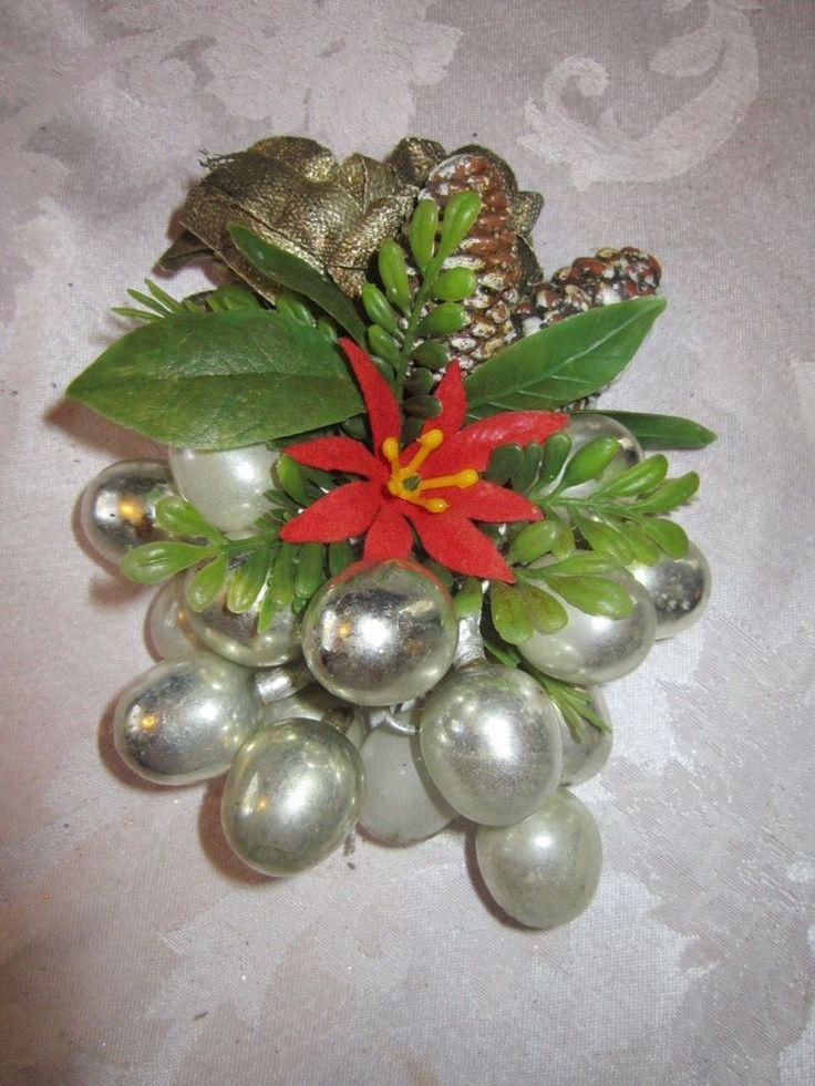 Vintage Christmas Corsage w Mercury Glass Oval
