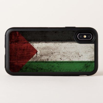 Palestine Flag on Old Wood Grain OtterBox Symmetry iPhone X Case - wood gifts ideas diy cyo natural