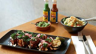 Guajillo braised pork belly with habanero cream, fried parsley and lime recipe : SBS Food