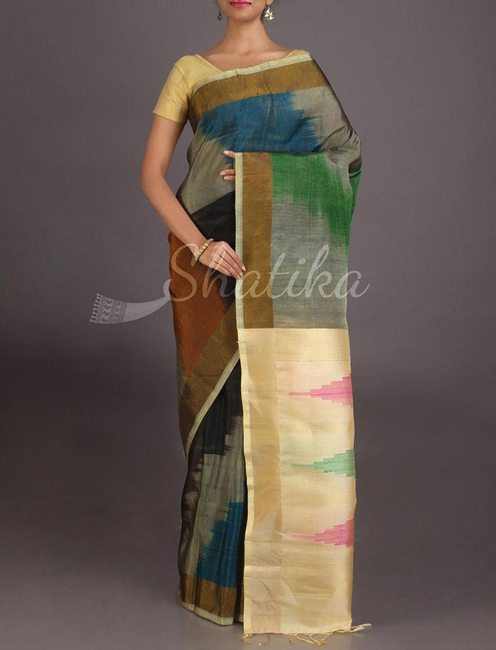 Sangeeta Splash Of Colors Contrast Border Pure #IkatSilkSaree