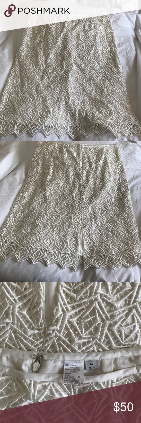 Gorgeous Tahari cream lace skirt. Gorgeous Tahari Cream Lace Skirt. Fully lined.  Slit in the back. Bought with the jacket but keeping the jacket. Sweater can be worn with a pretty sweater or cardi. Tahari Skirts Pencil