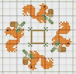 animaux - animals - écureuil - point de croix - cross stitch - Blog : http://broderiemimie44.canalblog.com/