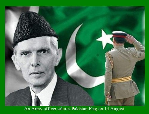 Pakistani Flag Pictures - An Army officer salutes Pakistan Flag on 14 August - Pakistan Flag Images