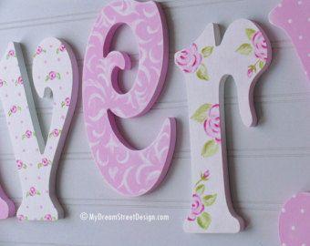Pintado la pared letras Letras de madera bebé niña