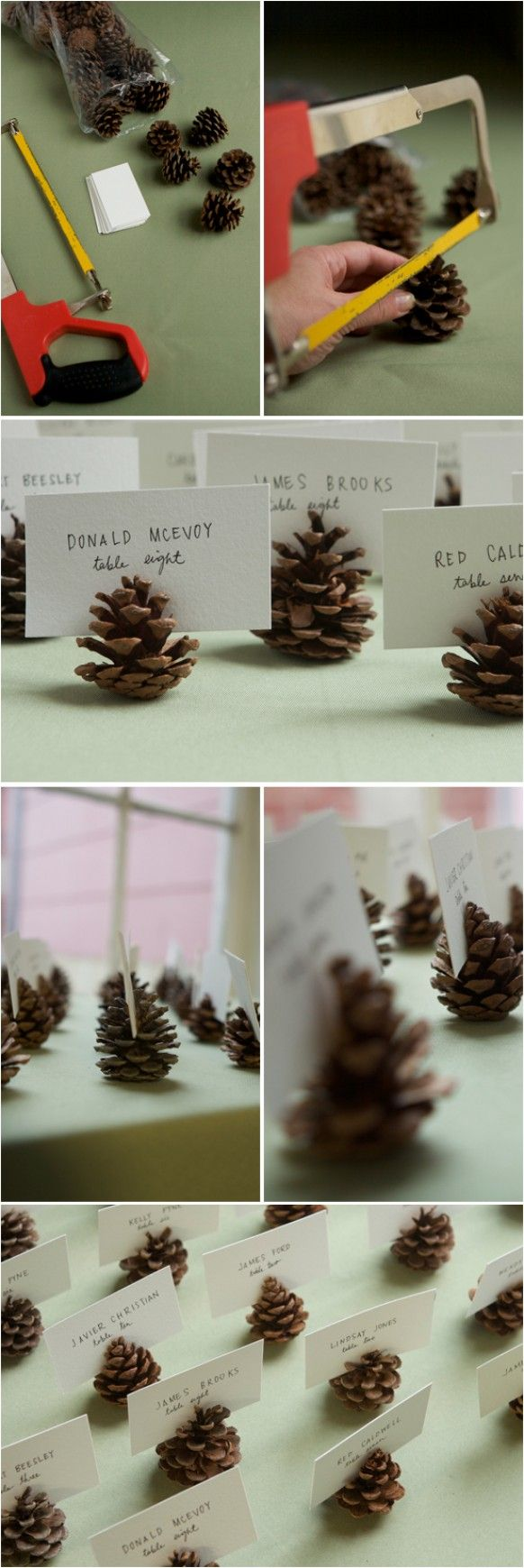 Unique Fall / winter wedding ideas. Simple DIY place cards holders. DIY Pine Cone Seating Cards Holder.