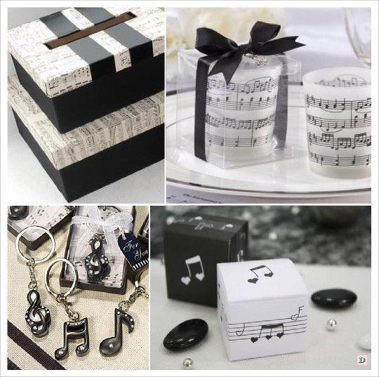 mariage theme musique urne partition cadeau photophore boite dragées porté clé notes de musiques