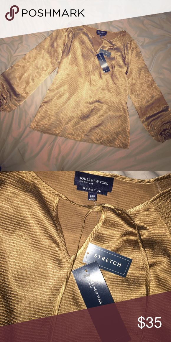 Selling this Jones New York Small top in gold sand -Stretch on Poshmark! My username is: marissakaschak. #shopmycloset #poshmark #fashion #shopping #style #forsale #Jones New York #Tops