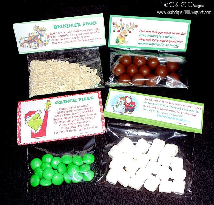 REINDEER FOOD (Non Edible...for kids entertainment ONLY), REINDEER POOP, GRINCH PILLS, & SNOWMAN POOP: