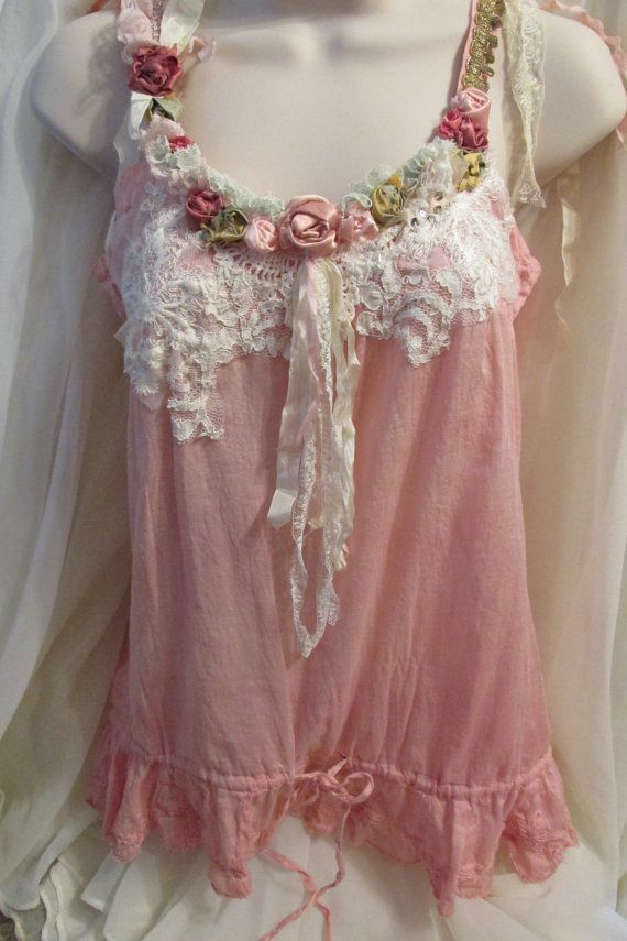 Feminine Boho Chic Top Upcycled Shabby Style By