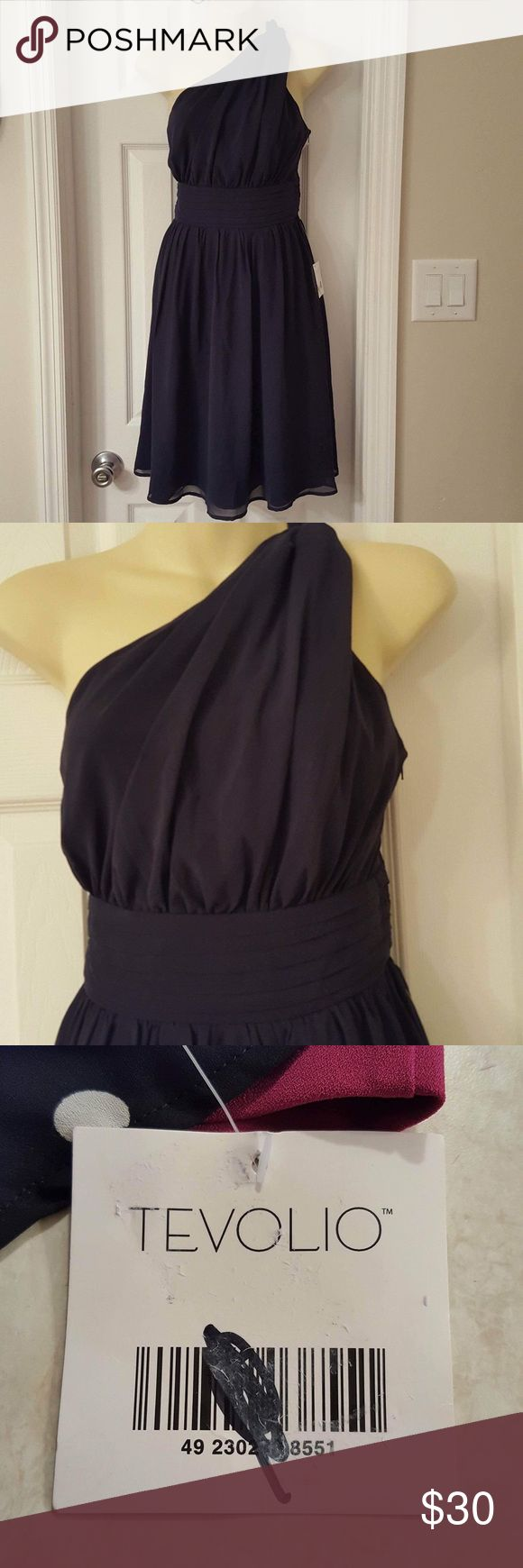 Tevolio one shoulder chiffon ruched bodice dress Beautiful fully lined side zip bridesmaid, formal, prom cocktail dress NWT Tevolio Dresses