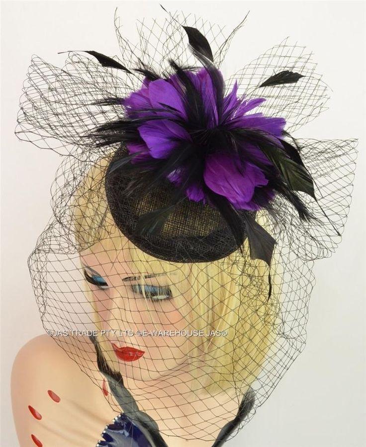 Melbourne Cup Race Carnival Feather Fascinator Hat Hatinator Veil Black Purple