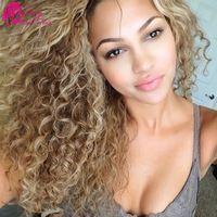 7a Unprocessed Virgin Hair Curly Virgin Peruvian Curly Hair 4 Bundles Honey Blonde Virgin Hair Kinky Curly Blonde Weave
