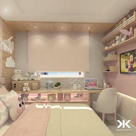 """Como diz a querida @carolcantelli_interiores : olha que """"fofíneo"""" esse quartinho de menina! O emprego da cor rosa nos dormitórios de menina continua infalível. Elas adoram! Aqui a cor rosa foi aplicada junto a cor cinza clara, madeira, papel de parede de unicórnios e uma estampa geométrica na cortina rolô. #DanielKrothArquitetura #DKarquitetura #projeto #quartodemenina #dormitoriodemenina #quartodeprincesa #unicornios #unicornio #design #moveissobmedida #arquitetura #arquiteturadeint..."""