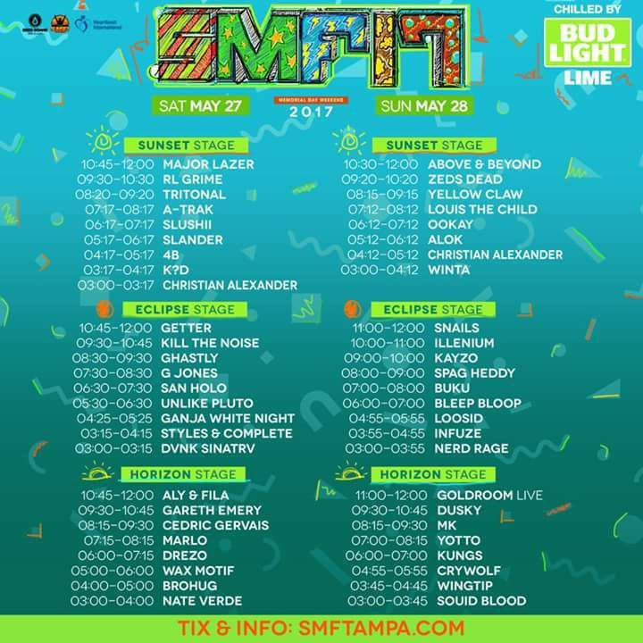 Sunset Music Festival Daily Lineup