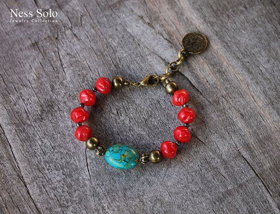 Bright Gypsy, boho bracelet made of red Czech glass beads, metal beads and a mosaic turquoise bead (pressed stone). The bracelet has a chain ending with a Tree of life charm to adjust the size. Fits best a 15-16,5 cm wrist (5 3/4 - 6 1/2). - ♥ - ♥ - ♥ - ♥ - ♥ - ♥ - ♥ - ♥ - ♥ - ♥ - ♥ - ♥ - ♥ - ♥ - ♥ - ♥ - ♥ - ♥ - ♥ - ♥ - ♥ - ♥ - ♥ - ♥ - PAYMENT: All major CREDIT CARDS are accepted through PayPal. You do NOT have to have a PayPal account to make a purchase. SHIPPING: I mail all o...