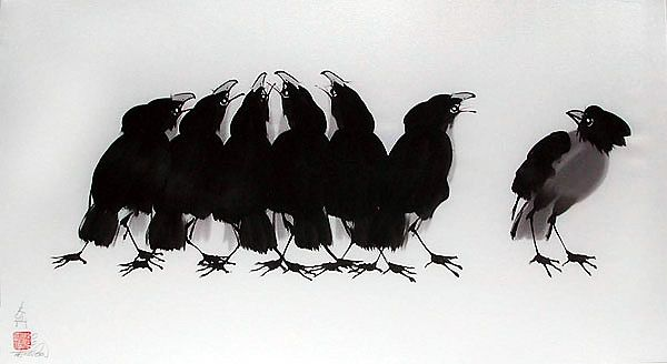 Seven Crows of Longivity--watercolor on silk by Tai Poon - amazing!