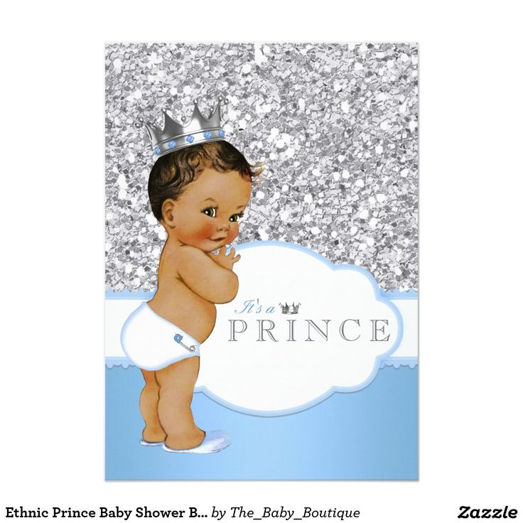 Ethnic Prince Baby Shower Blue and Silver 5x7 Paper Invitation Card
