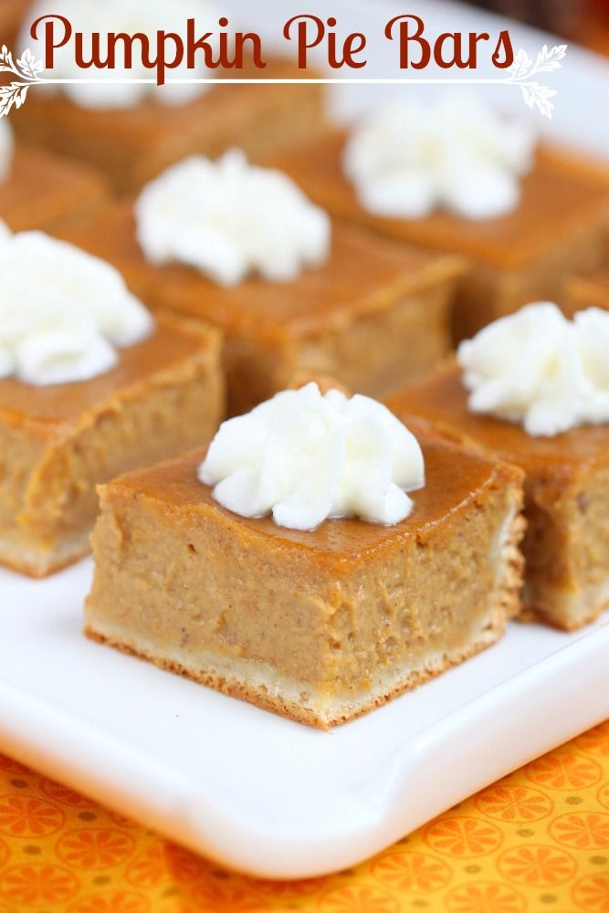 The best Pumpkin Pie bars ever! Only 6 ingredients needed!