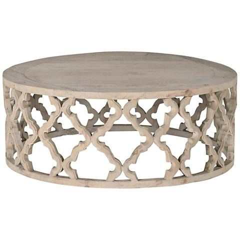 Bella Antique Clover Large Smoke Gray Wood Coffee Table. Large Coffee Tables CloversOne Kings ...