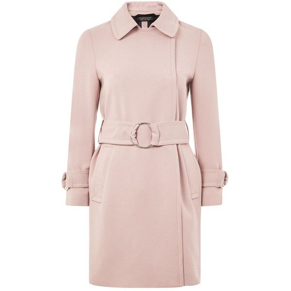 TopShop Daisy Crepe Duster Coat (33.395 HUF) ❤ liked on Polyvore featuring outerwear, coats, dusty pink, pink duster coat, topshop coats, pink coats and duster coat