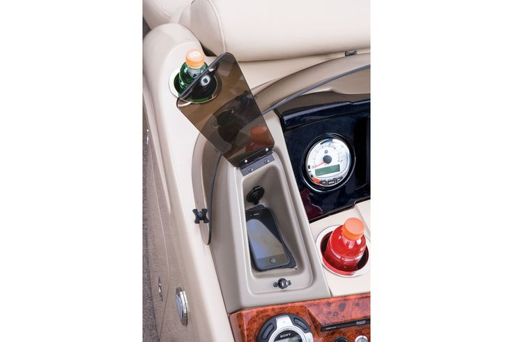2 dash small items storage areas—1 prewired for USB, MP3 jack & 12V outlet http://www.exclusiveautomarine.com/product/party-barge-254-xp3