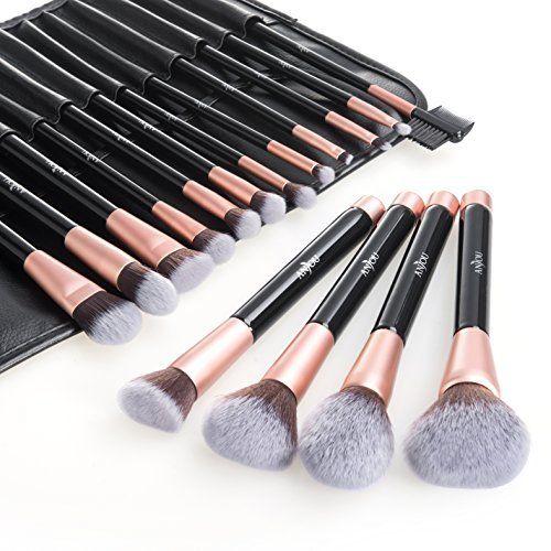 Pinceaux Maquillage Anjou Kit de 16pcs, Doux et Sans Cruauté, Poils Synthétiques, Design Or Rose, Pochette Élégante Cuir PU Incluse: 1 Set…