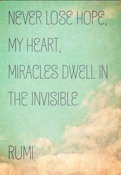 """Never lose hope, my heart.  Miracles dwell in the invisible.""  ~Rumi"