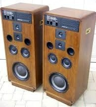 "Koss CM1030 was typical of the the era's preference for 4-way designs for high-end models. The idea was to limit distortion,  compensate for frequency response errors and improve dispersion by limiting each driver to a narrow range. In this case, one 10"" woofer with dual bass reflex ports, two midranges, one tweeter and one supertweeter. The cabinet is massive and solidly made. The sound is superb, and they're still sought after by audiophiles and music enthusiasts."