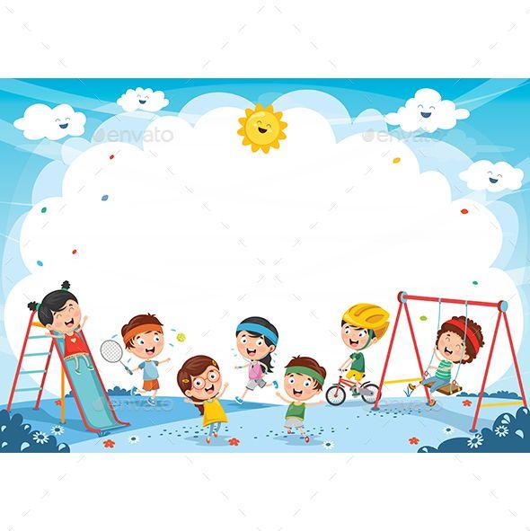 Vector Illustration Of Kids Playing Kids Background Kids Playing Cartoon Kids