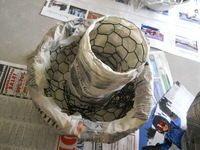 How to make a decorative light. Paper Mache Mushroom Lamp - Step 2