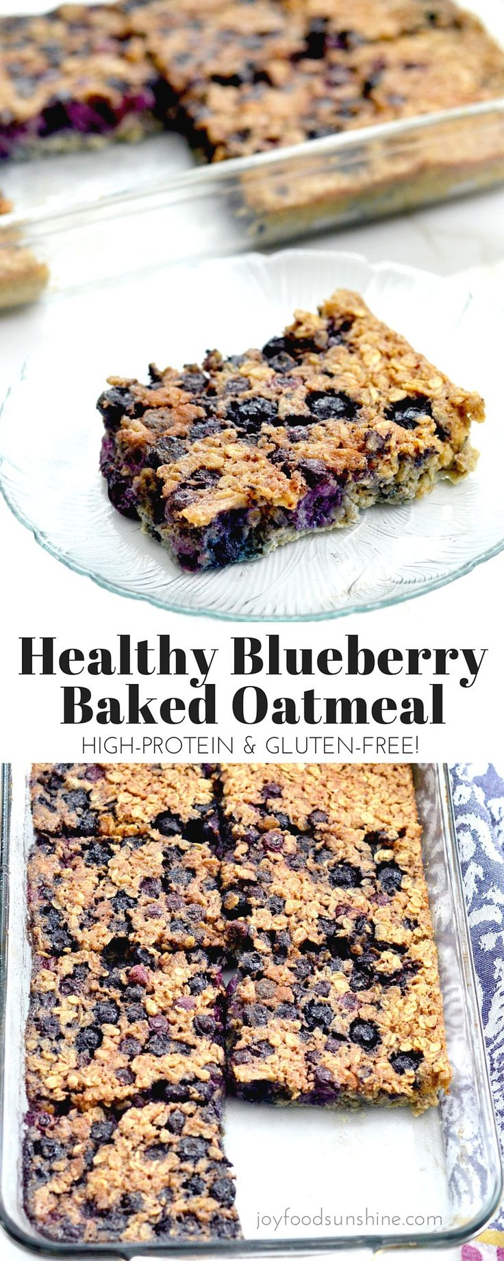 Baked blueberry oatmeal recipe! The addition of Greek yogurt and almond meal make this a protein-rich breakfast! Plus it's gluten-free, refined-sugar free and feeds a crowd!