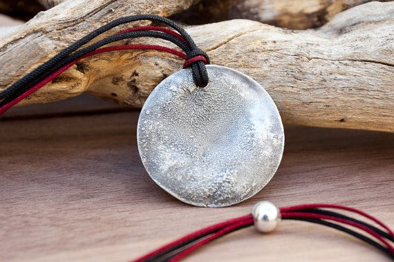 Reticulated silver disc pendant oxidized  Art by BelisamaCrafts