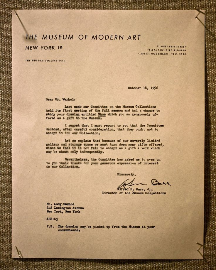 MOMA rejection letter to Andy Warhol 1956.