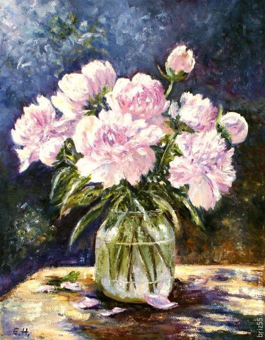 Купить Картина маслом Букет белых пионов - картина для интерьера, картина с цветами, интерьерная картина