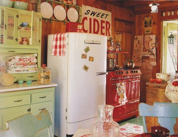 vintage cabin decor, like the cabinet and chairs.  Note to self - Just rip out the old dated cabinets and go for it!