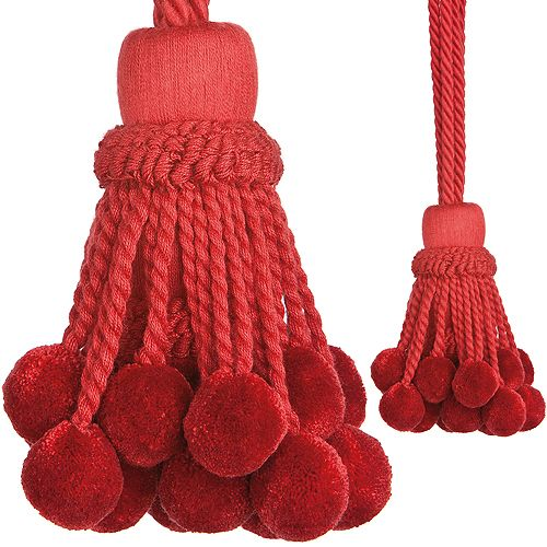 Regency Rope Curtain Tieback, Pom Pom Red