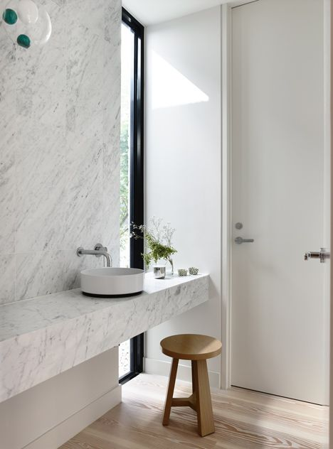 Marble Bathroom of Fairbairn House in Melbourne by Inglis Architects