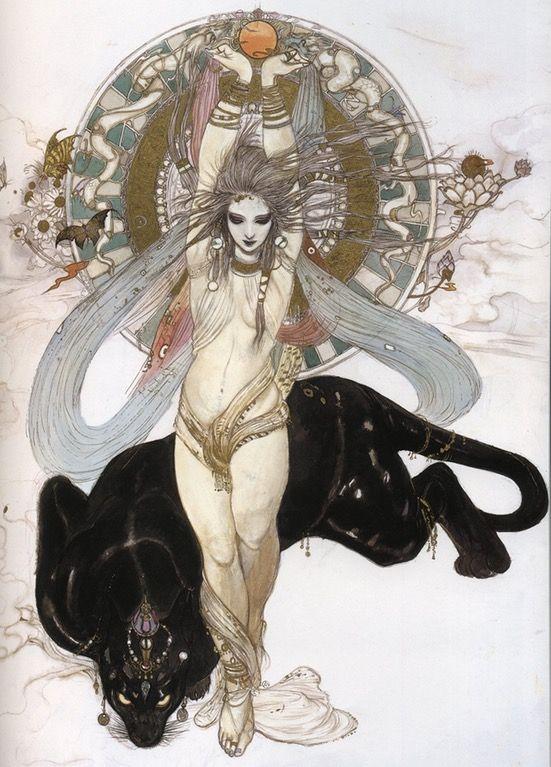I love the gothic art style Yoshitaka Amano uses in his work. : Art
