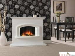The Flamerite Valentino 2 electric fireplace suite is a stylish electric fireplace suite that includes a surround in either Starlight White or Beige Marfil finish. The Valentino electric fireplace suite comes with a Nitra Flame Curve flame picture which provides a warm and lively curved flame image at the centre of the fuel bed and separate.
