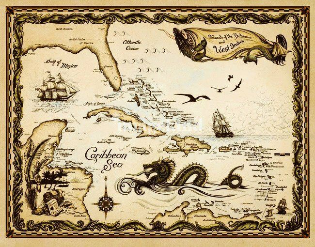 """Caribbean Nautical Chart"" by Savanna Redman                                                                                                                                                                                 More"