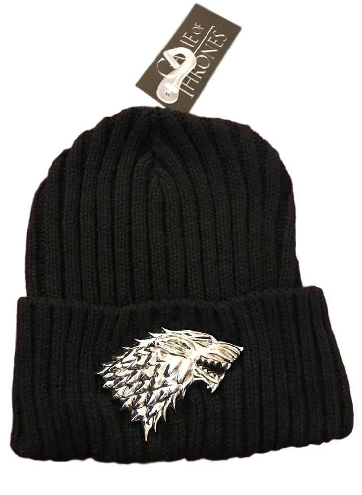 Game of Thrones Stark 3D Metal Sculpted Figure on Black Cuff Beanie Knit Hat