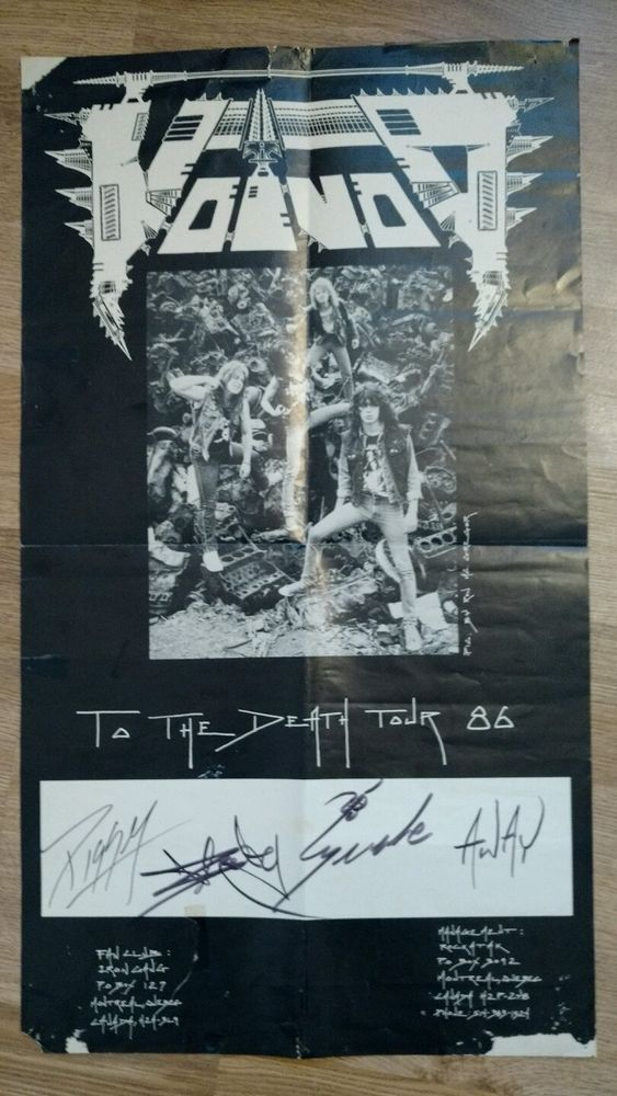 Voivod To the death tour 1986 original Poster signed by all members Piggy!!!!