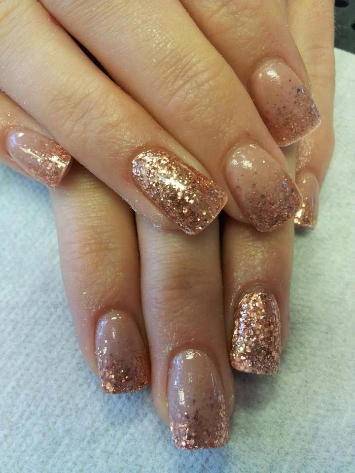 Rose Gold Copper Accent Nail Acrylic Glitter Fade Beautiful Glitter Fade Nails Faded Nails Rose Gold Nails