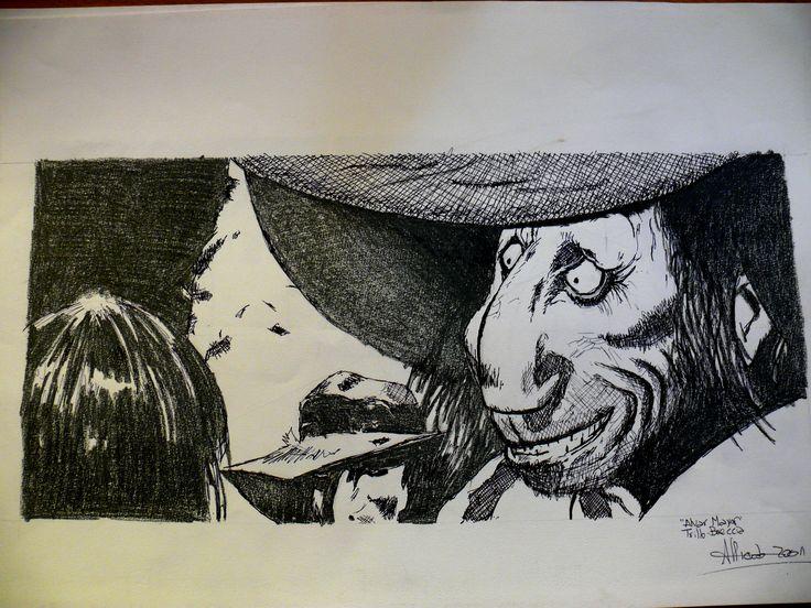 Leccion de dibujo de mi primo, amigo y maestro Antonio Almazán realizado en carbonilla, tinta china y birome.