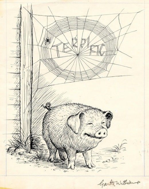 Garth Williams, illustrazione per Charlotte's web, via http://flavorwire.com/260278/garth-williams-gorgeous-original-illustrations-for-charlottes-web