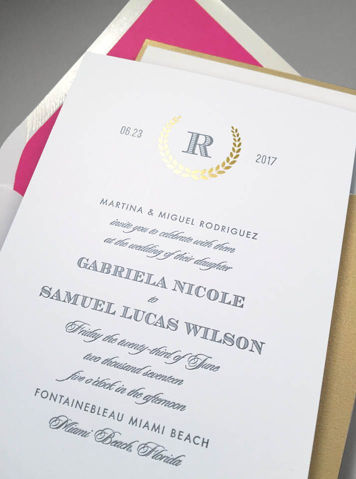 Modern Laurel Wedding Invitations designed