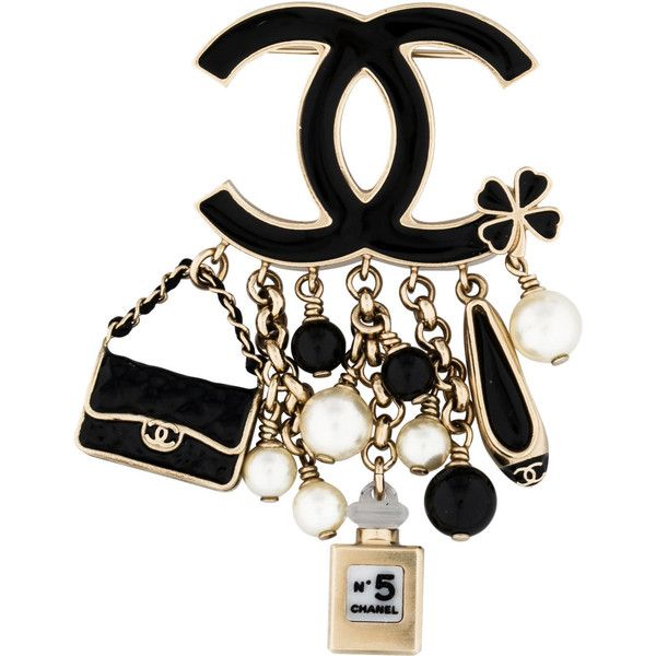 Pre-owned Chanel CC Charm Brooch (640 CAD) ❤ liked on Polyvore featuring jewelry, brooches, black, chanel jewellery, pin brooch, chanel broach, chanel and charm jewelry