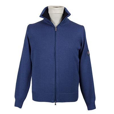 Cardigan con cerniera centrale - Avio - Invernale. € 45,50. #hallofbrands #hob #maglia #sweater #jersey #knitwear #invernale #wintry #winter