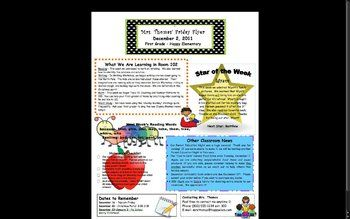 Classroom newsletters are an excellent way to communicate with todays busy parents.  I began sending home weekly classroom newsletters 4 years ago, and I am so glad I did!  In this way, parents can stay up to date on what their child is learning, exciting classroom news, upcoming events, and much more!